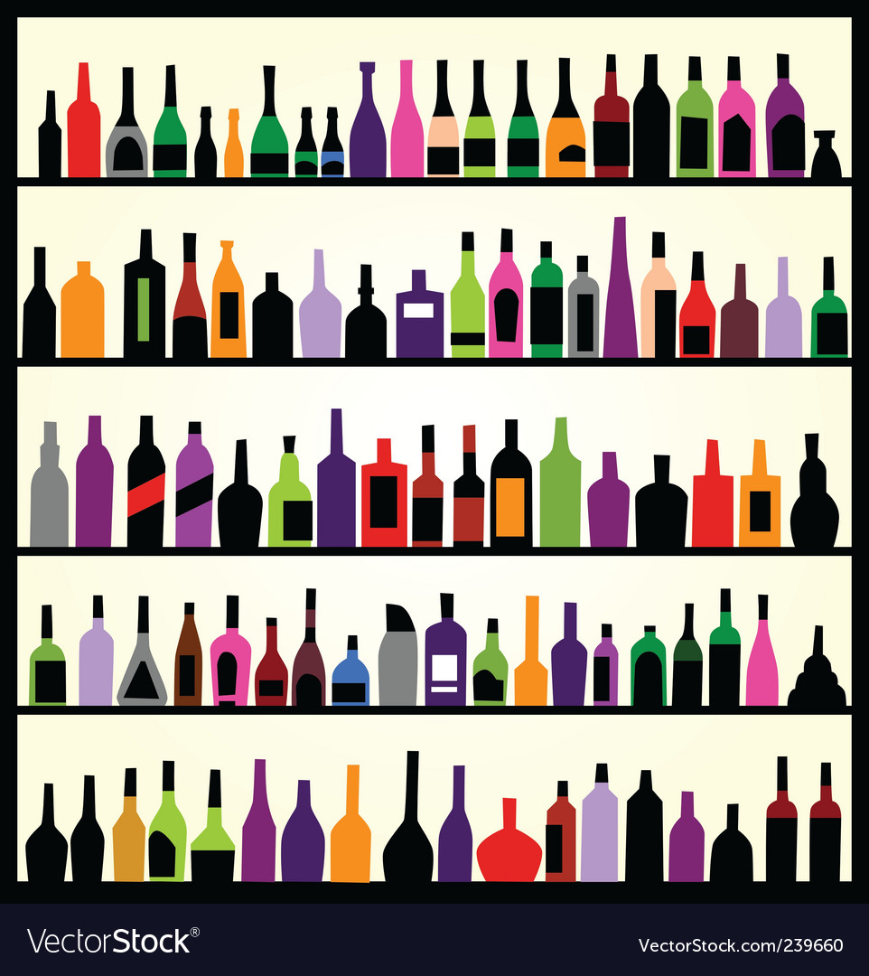 Alcohol bottles on the wall vector
