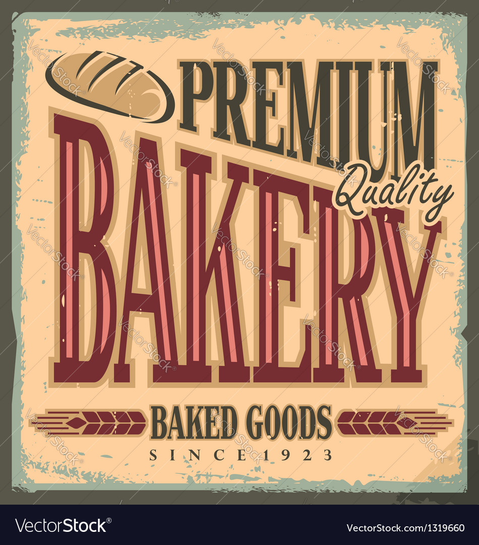 Vintage bakery sign vector