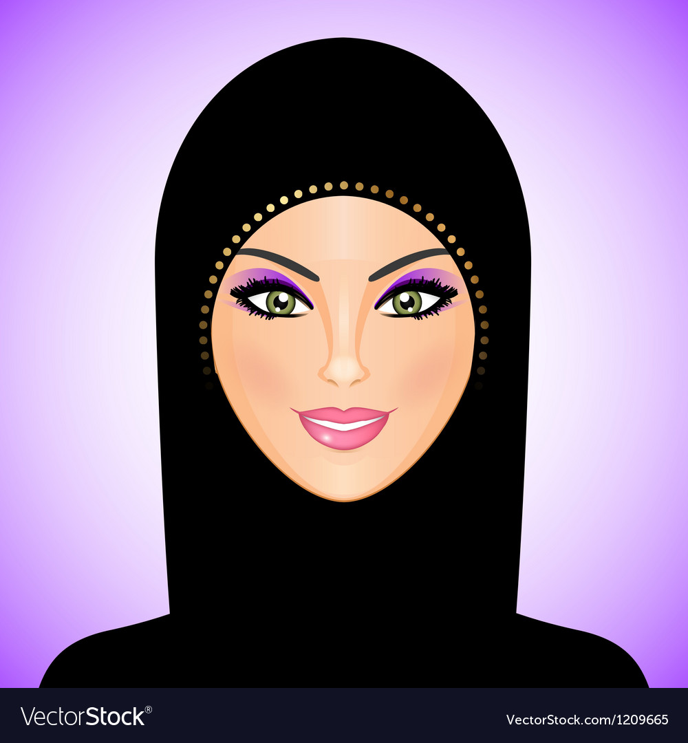 Arab woman purple smile vector