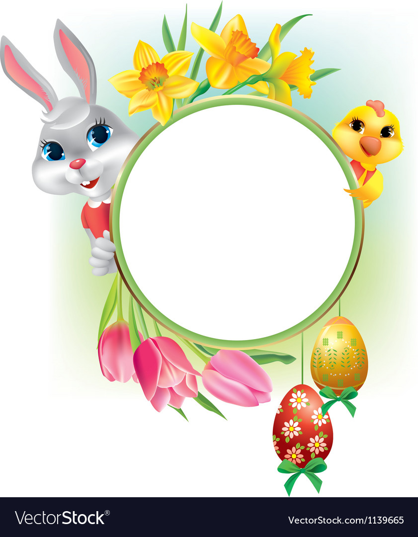 Easter round frame vector