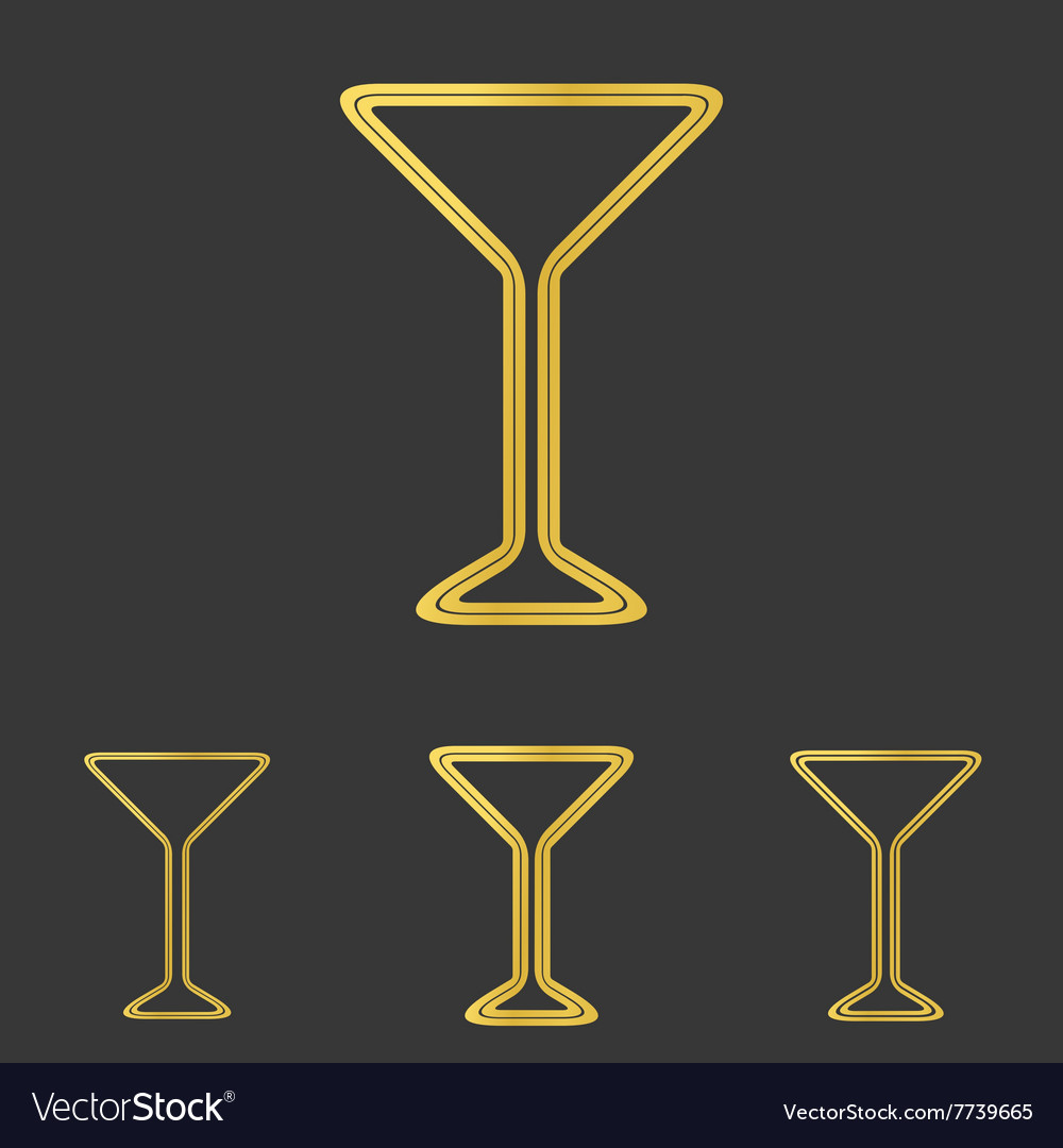 Golden line drink logo design set