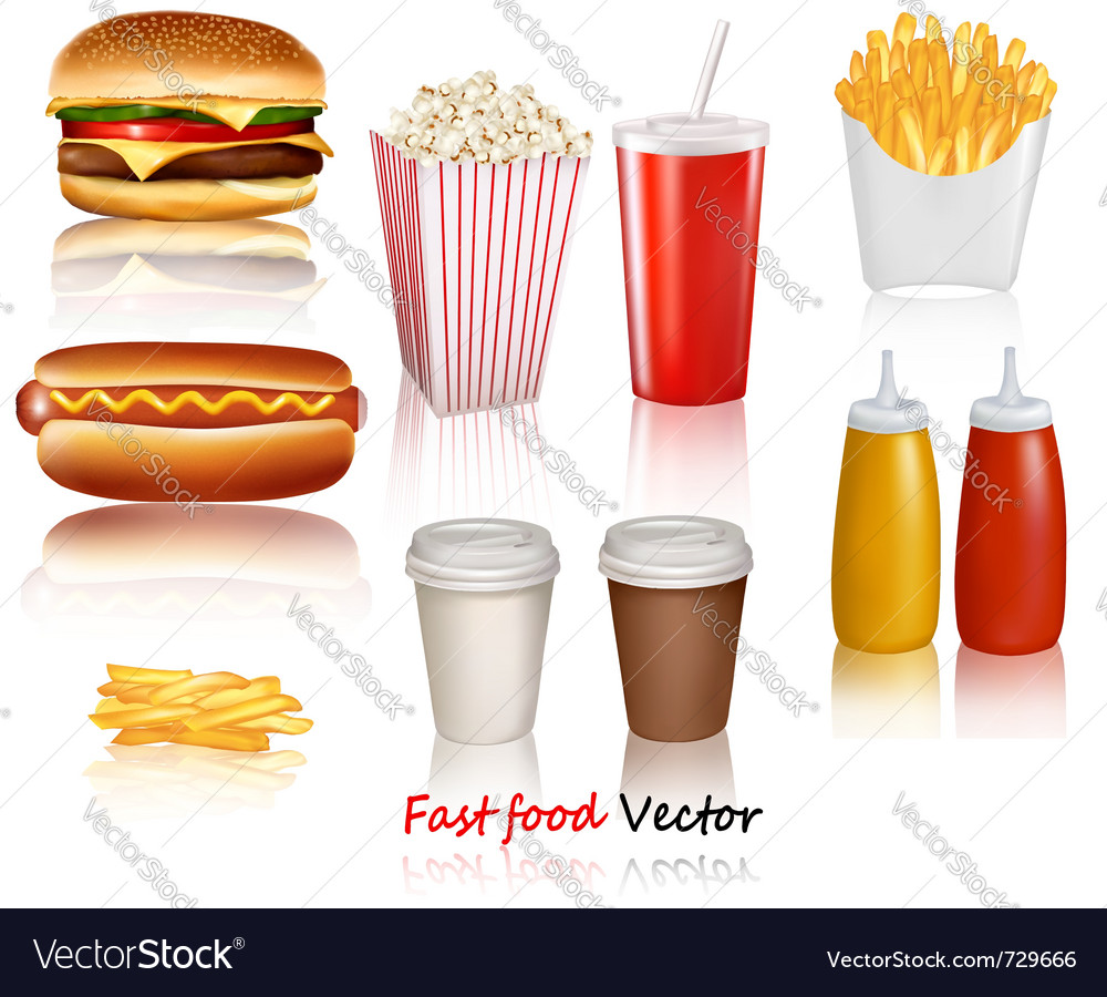 Fast food products vector