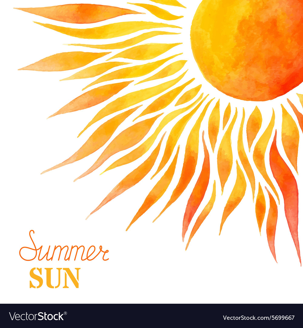 Watercolor summer sun background vector by Maljuk - Image ...