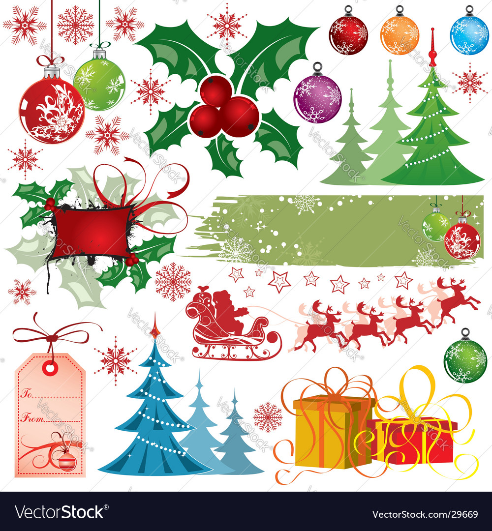 Christmas design elements vector
