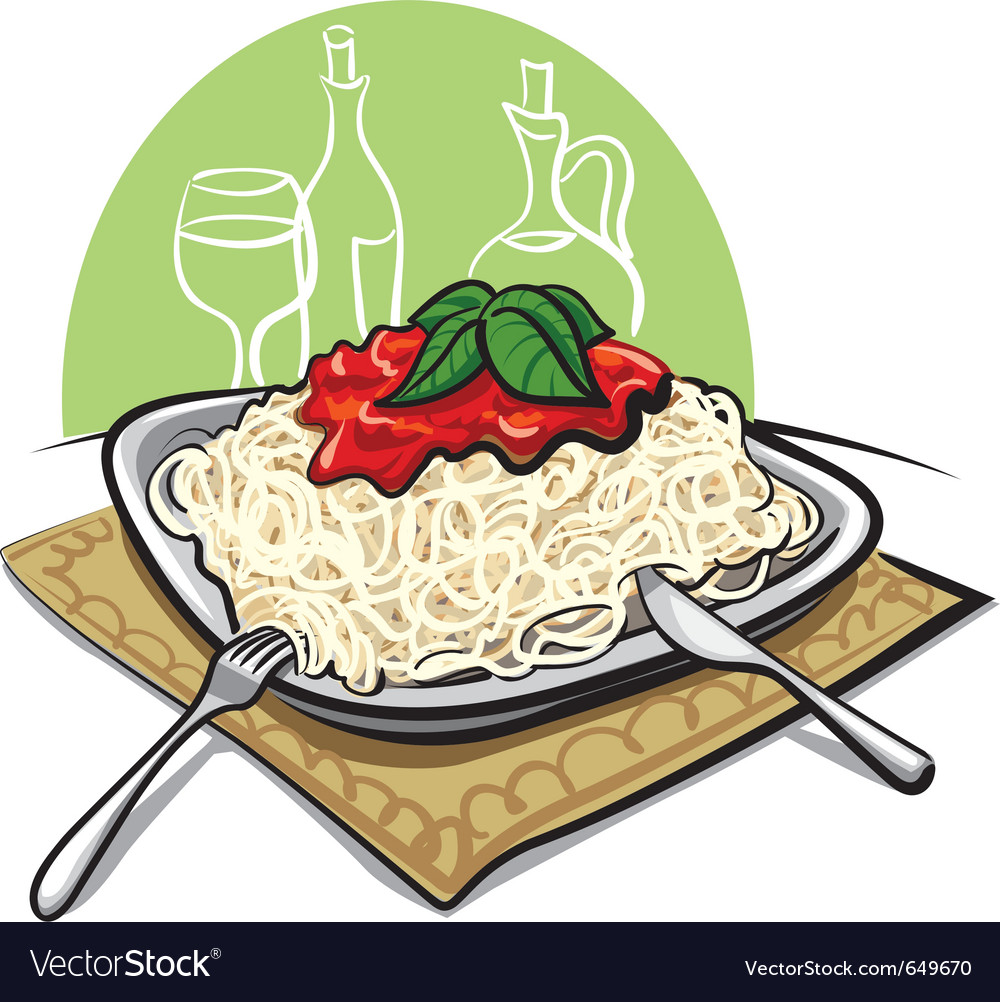 Spaghetti with tomato sauce vector
