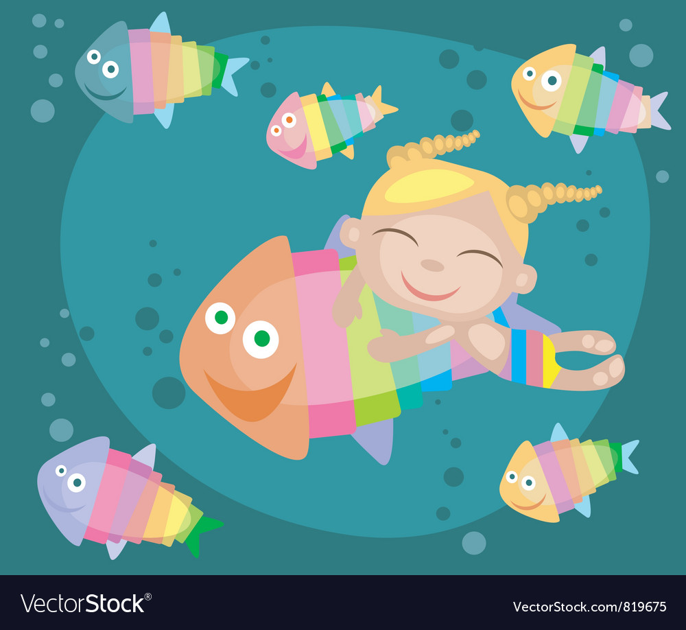 Tropical fishes and girl vector