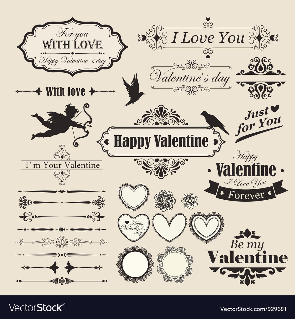 Valentines lettering vector