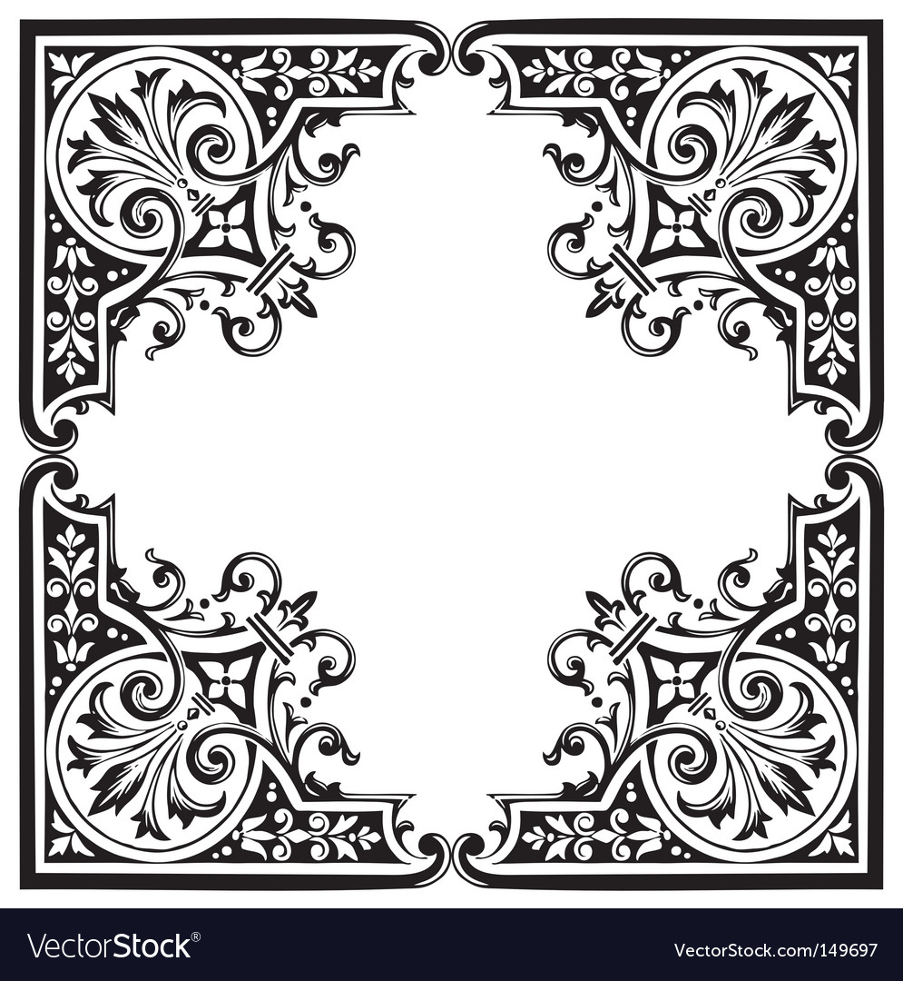 Free antique frame engraving vector