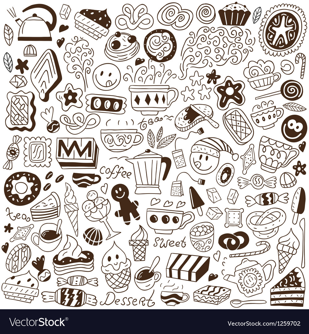 Coffee and sweets  doodles vector