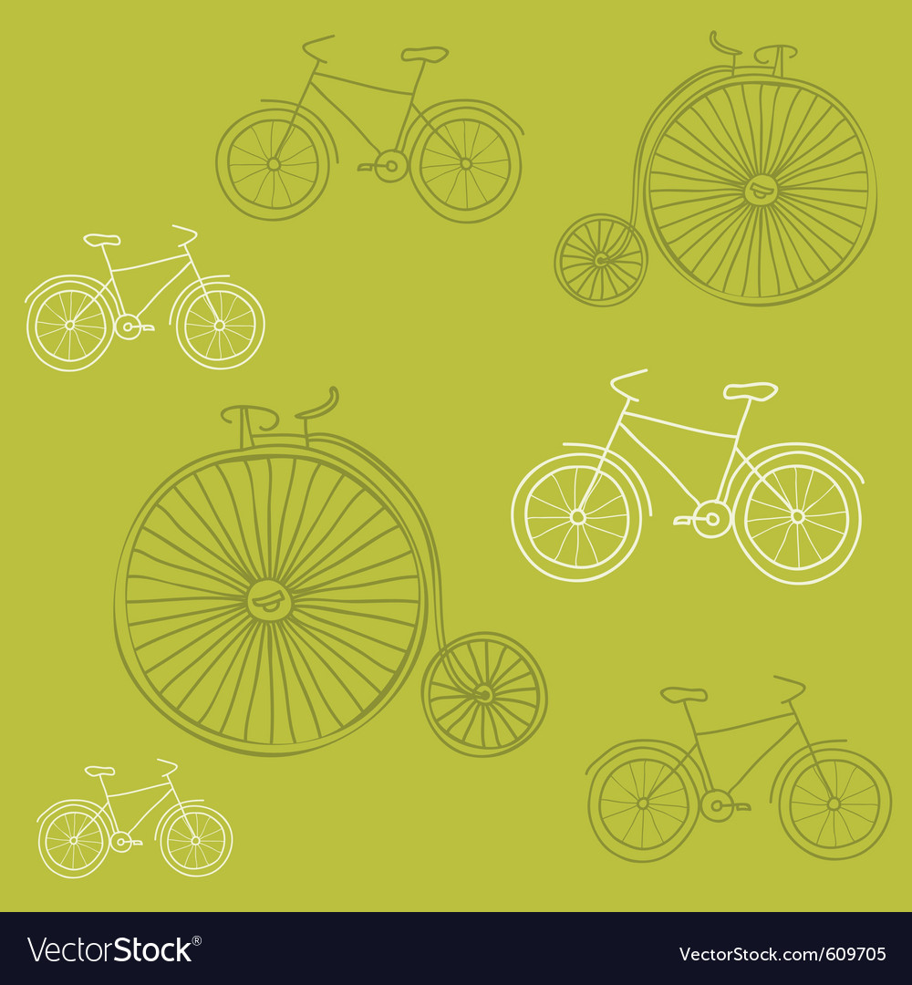 Seamless background with retro bicycles  for desi vector