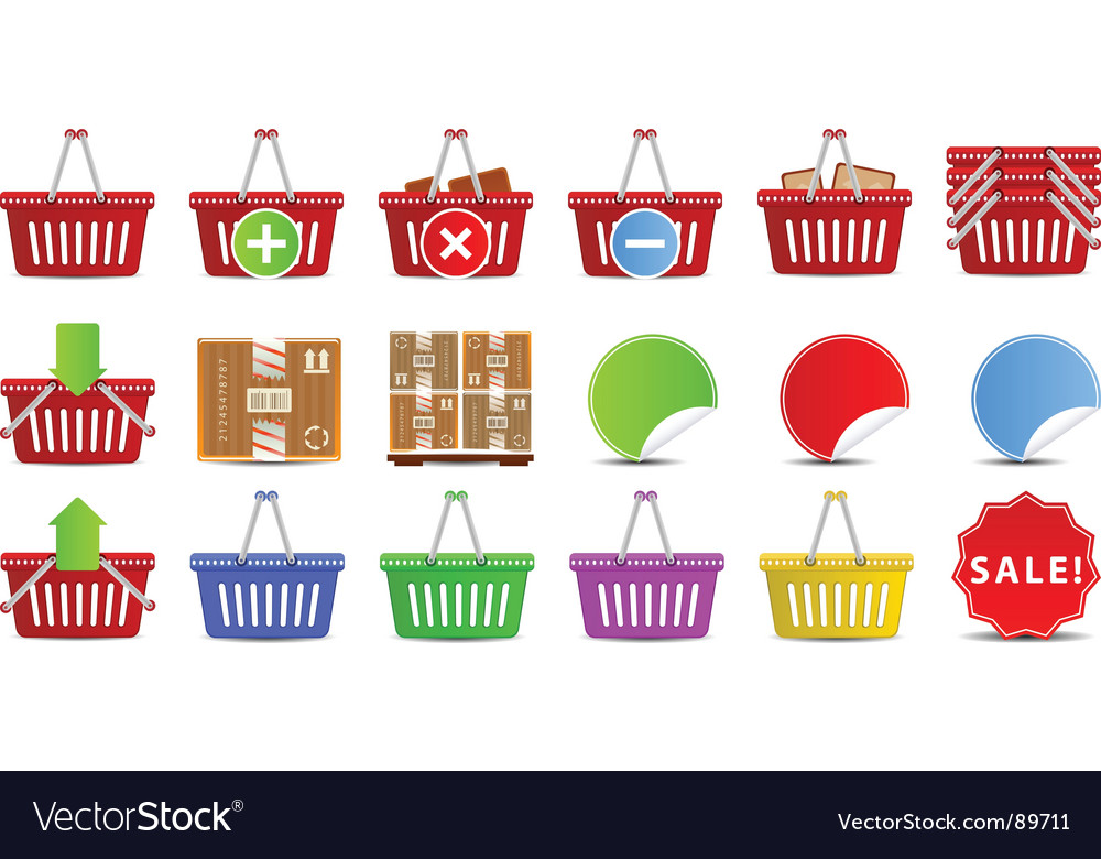 Shopping baskets icon set vector