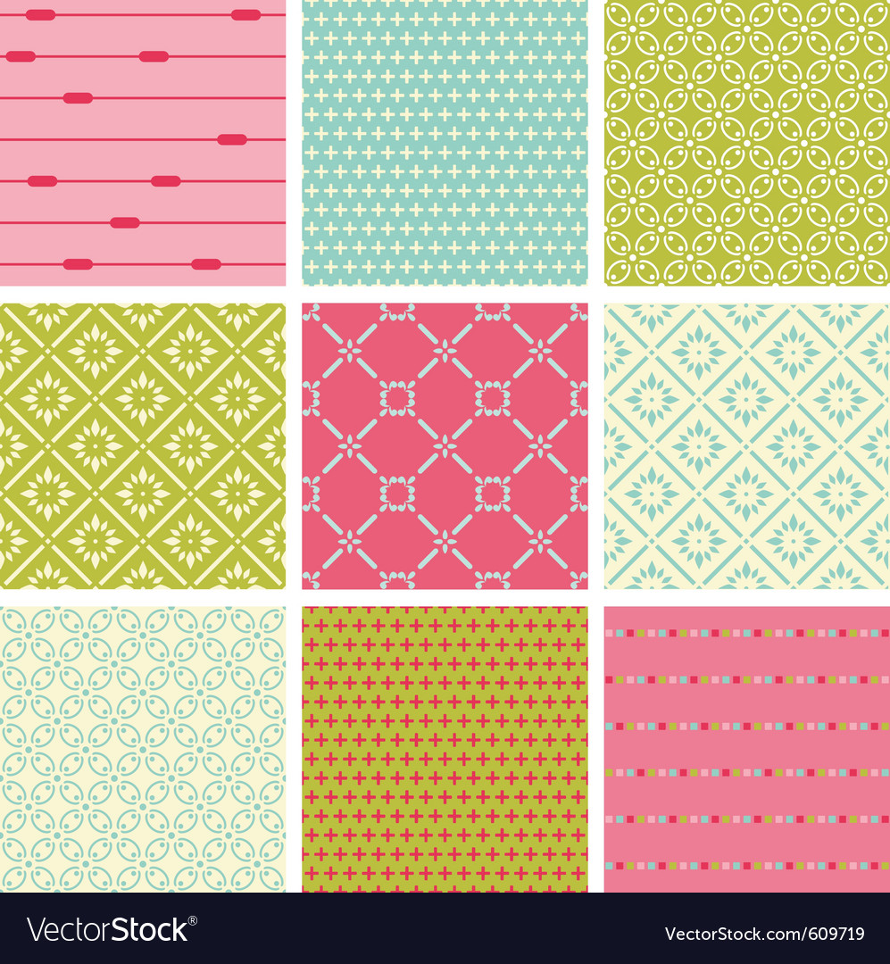 Seamless colorful backgrounds collection  vintage vector