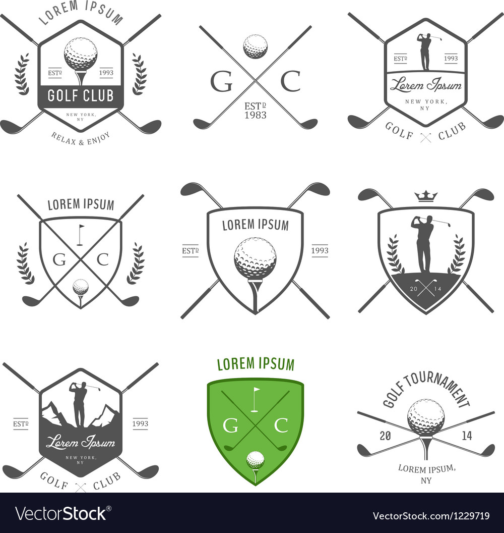 Set of vintage golf labels and badges vector