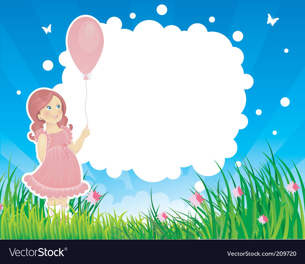 Summer background with girl vector