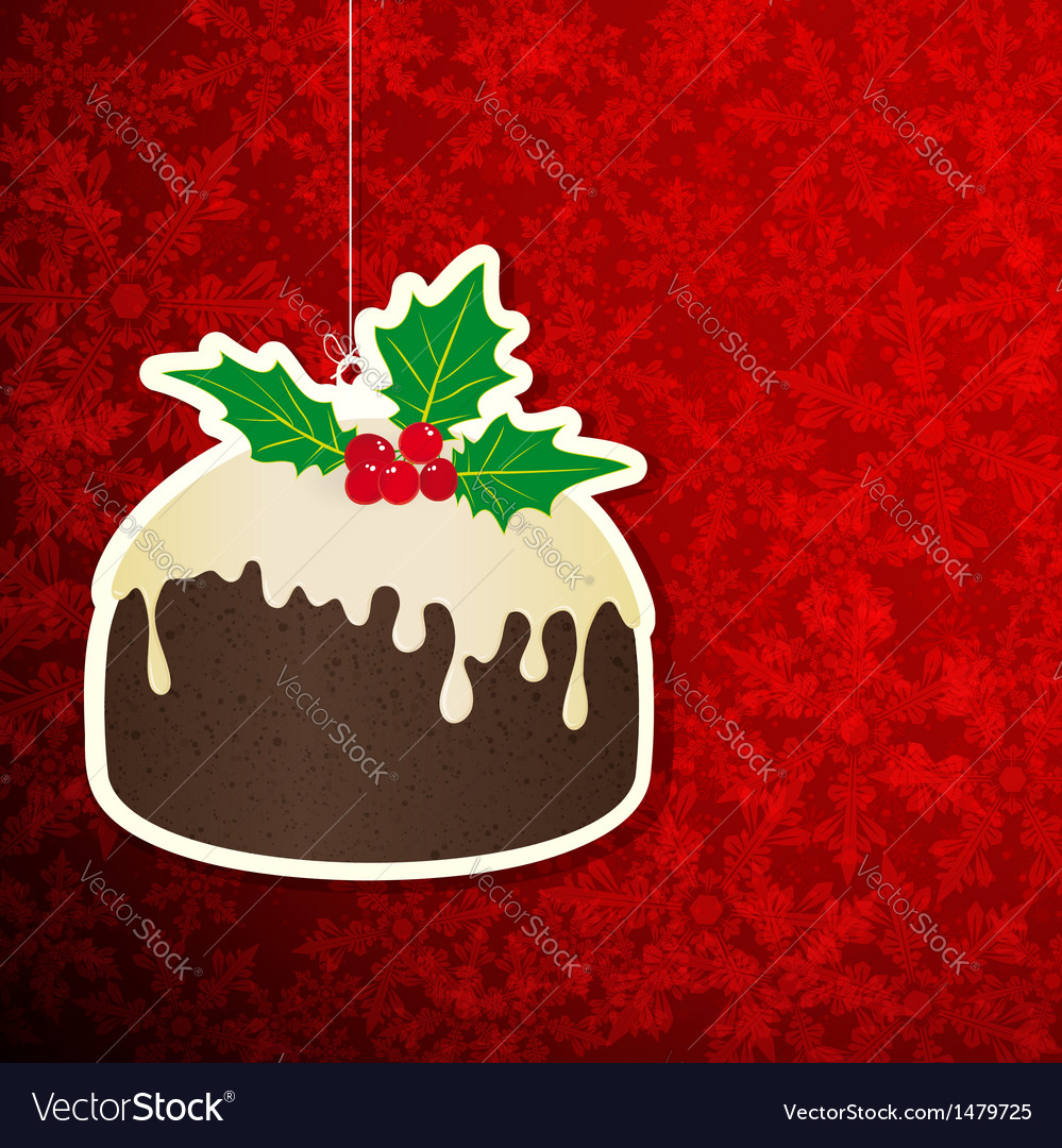 Christmas background with pudding vector