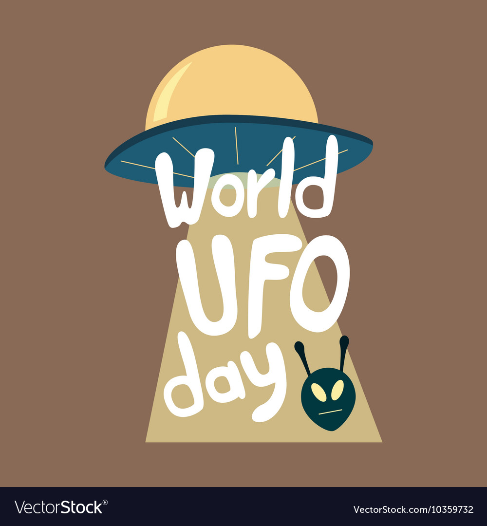 Poster for world ufo day with alien spaceship