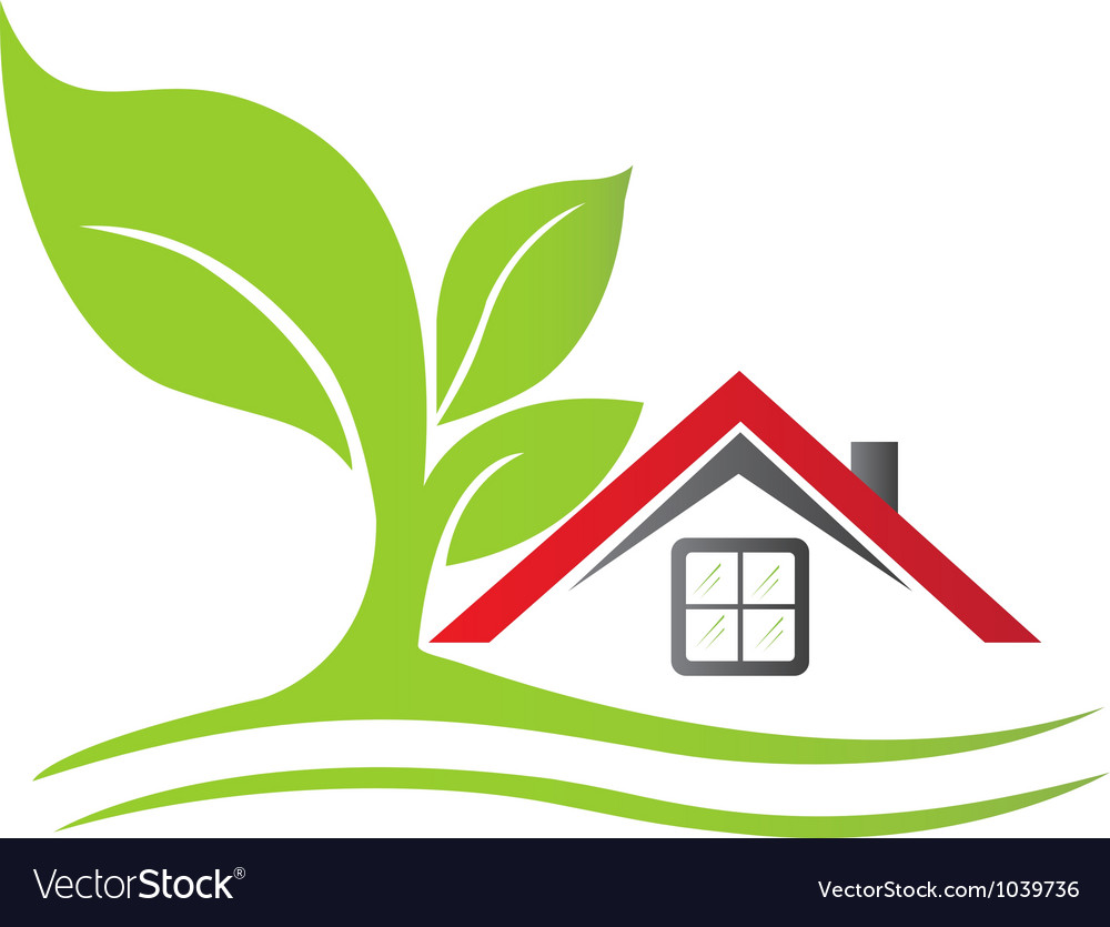 Real estate house with tree vector