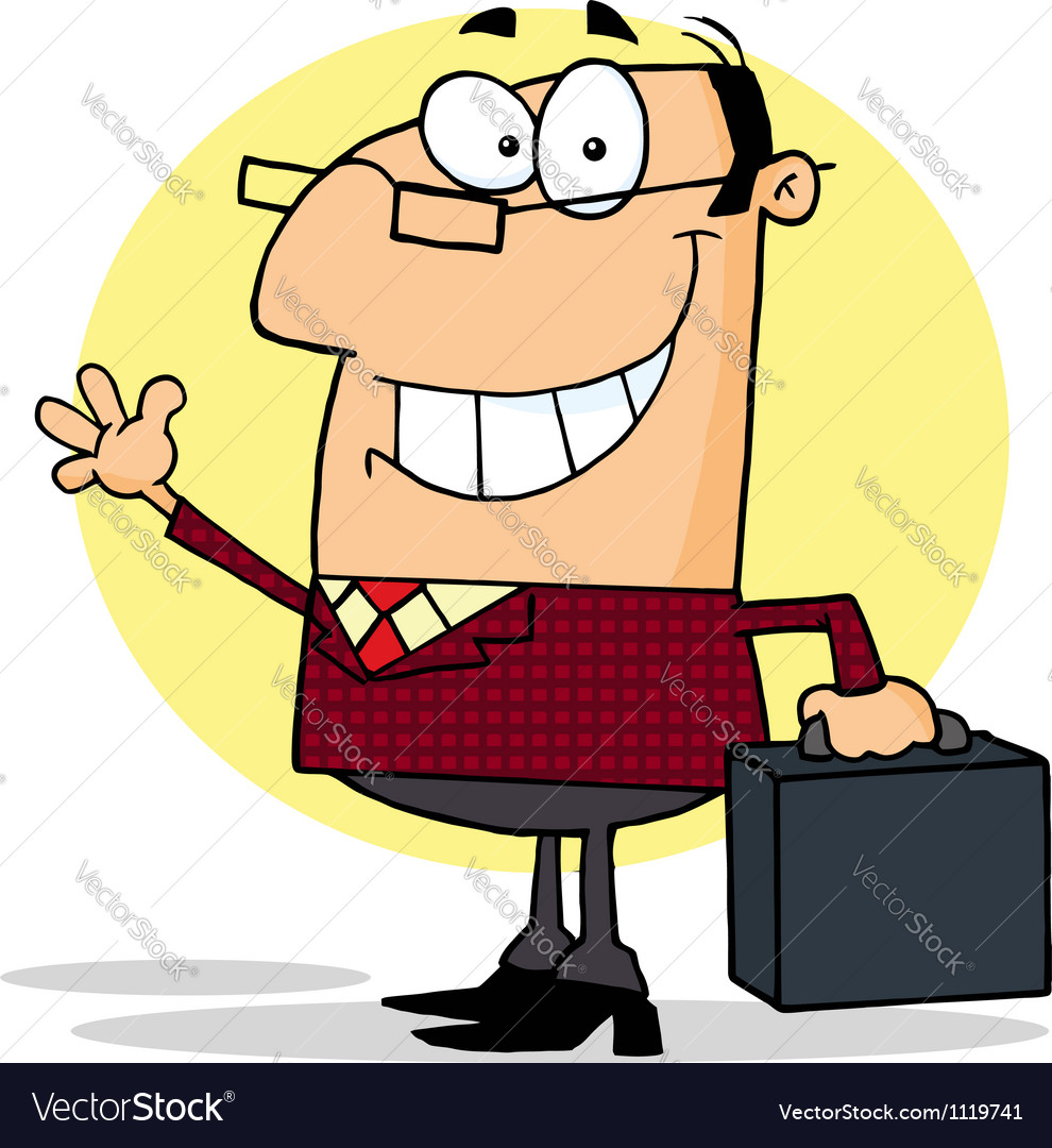 Businessman waving a greeting vector