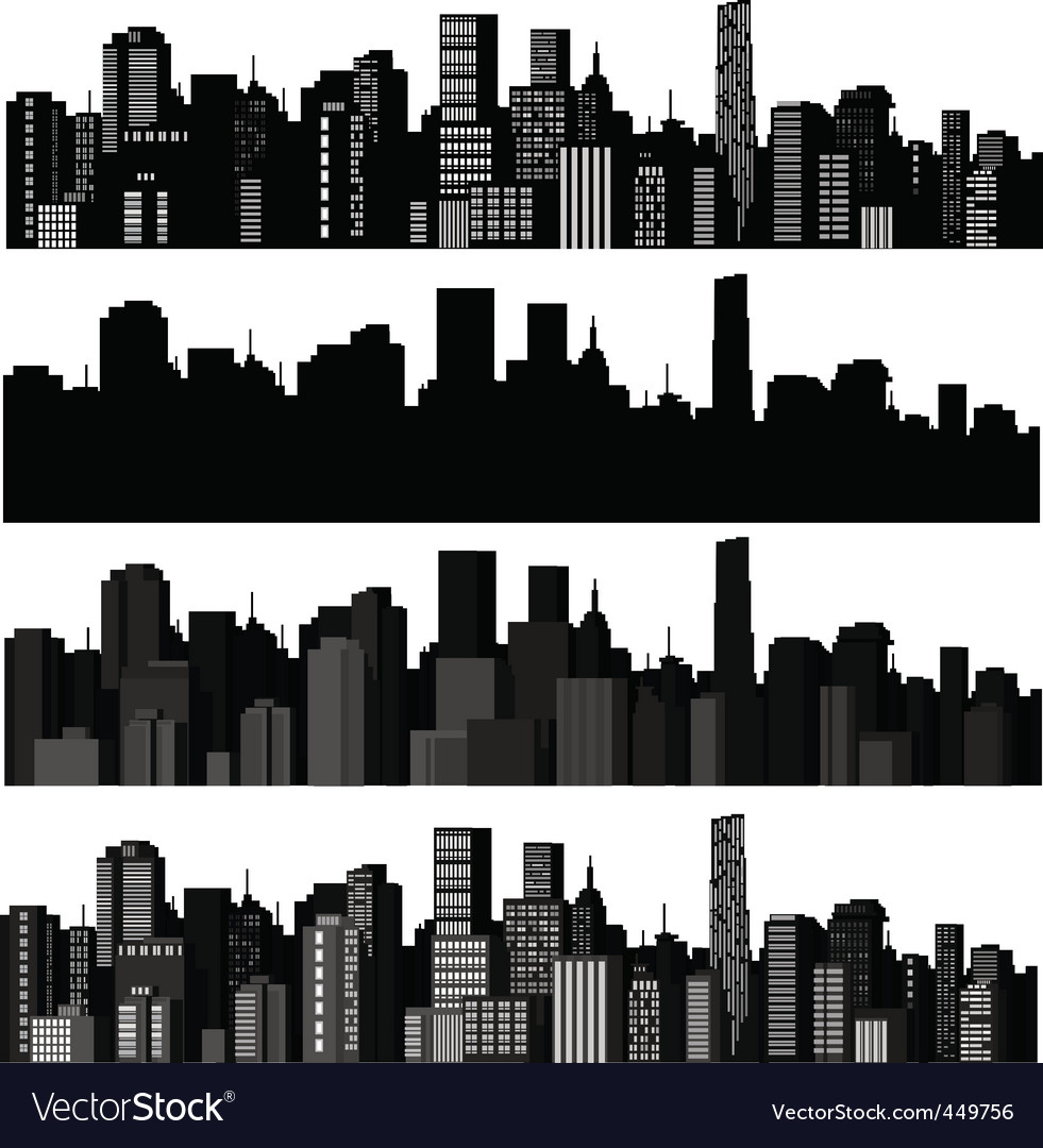Set of cities silhouette vector