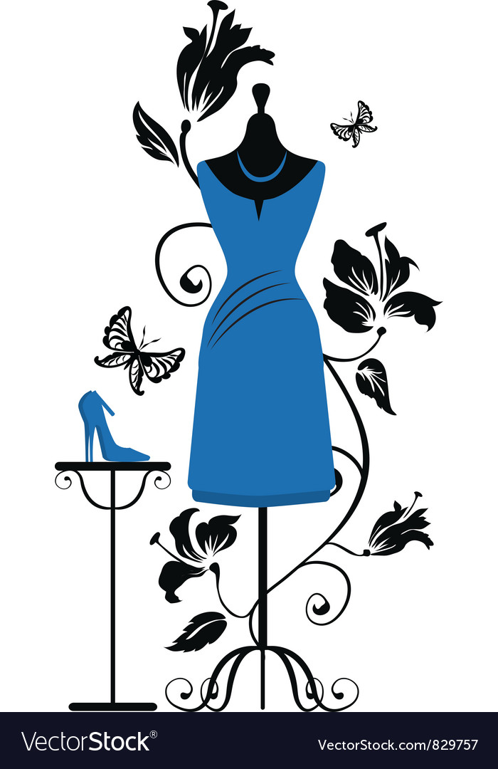Mannequin for tailors with dress ang shoes vector