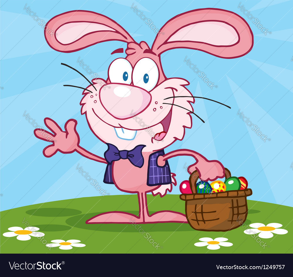 Waving pink bunny with easter eggs vector