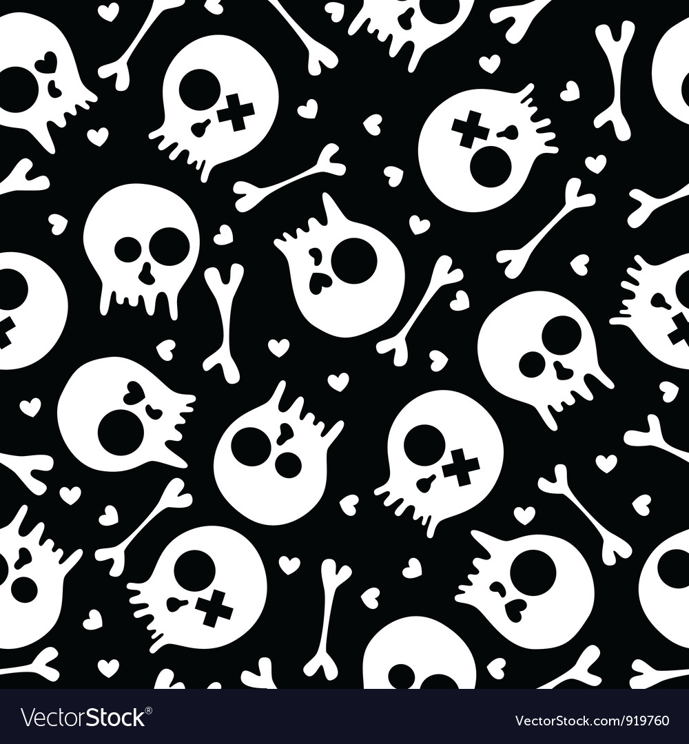 Skulls seamless pattern vector