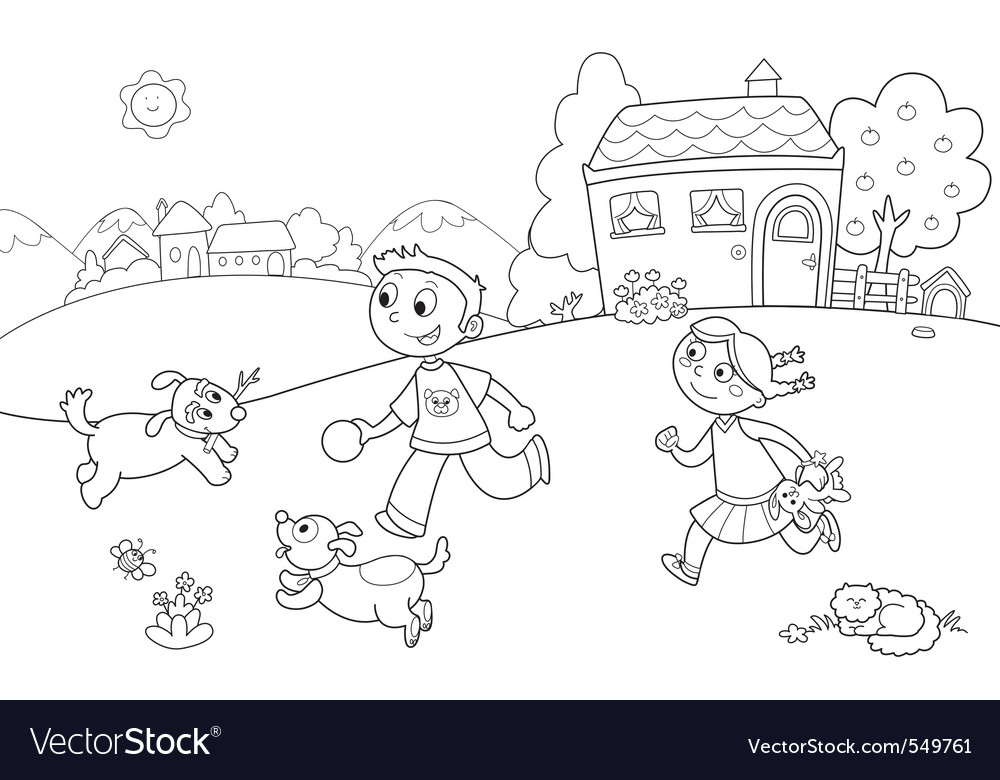 Children playing with dogs vector
