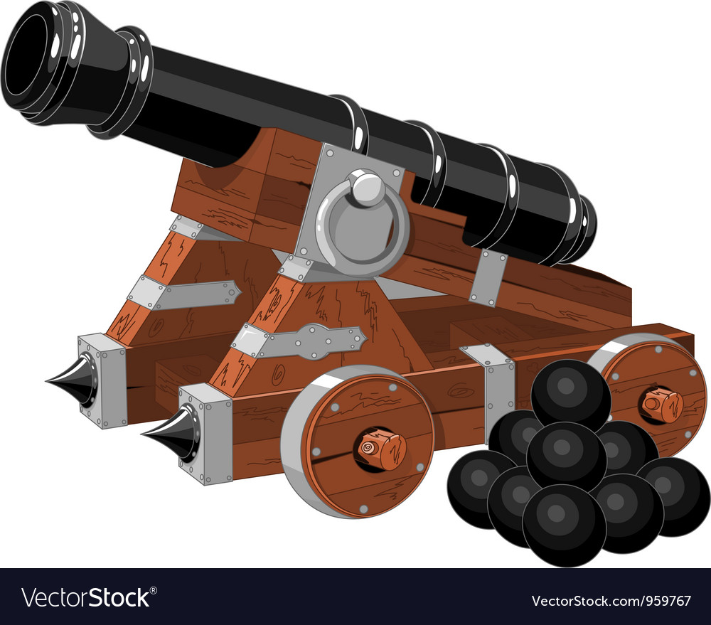 Old pirate ship cannon vector