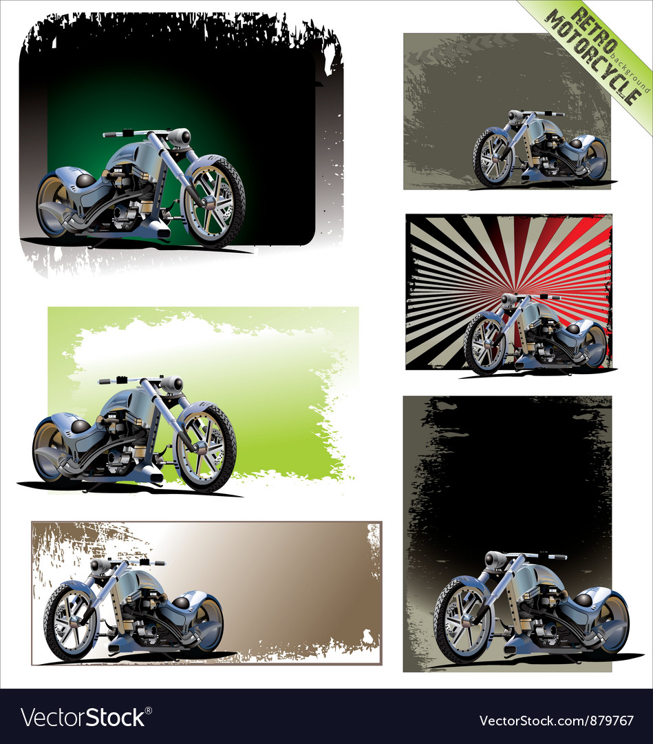 Retro motorcycle background  set vector