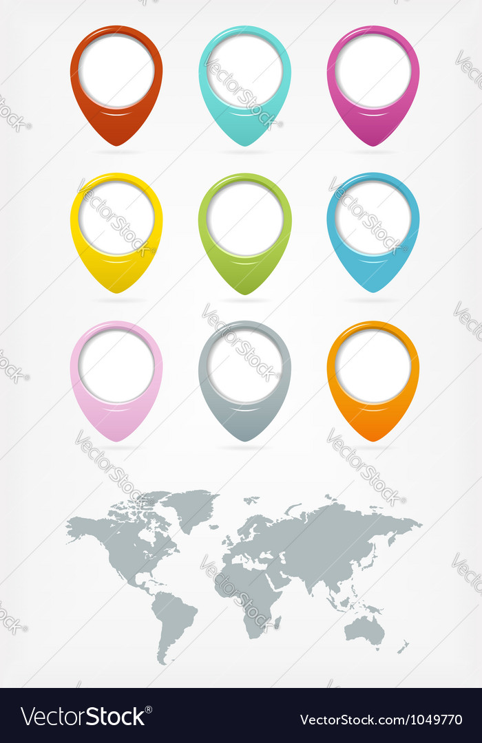 Colorful web buttons with world map vector