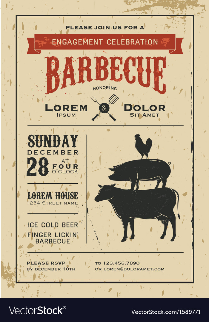 Vintage engagement barbecue invitation card vector