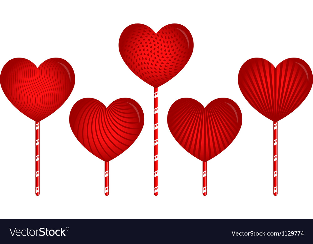 Designer heart candies with patterns vector