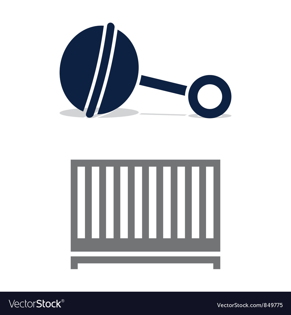Baby crib and rattle vector
