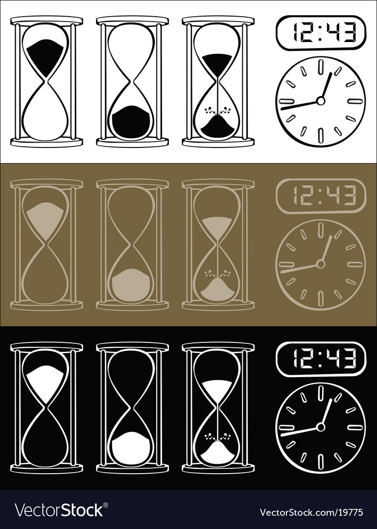 Hour glass and clock vector