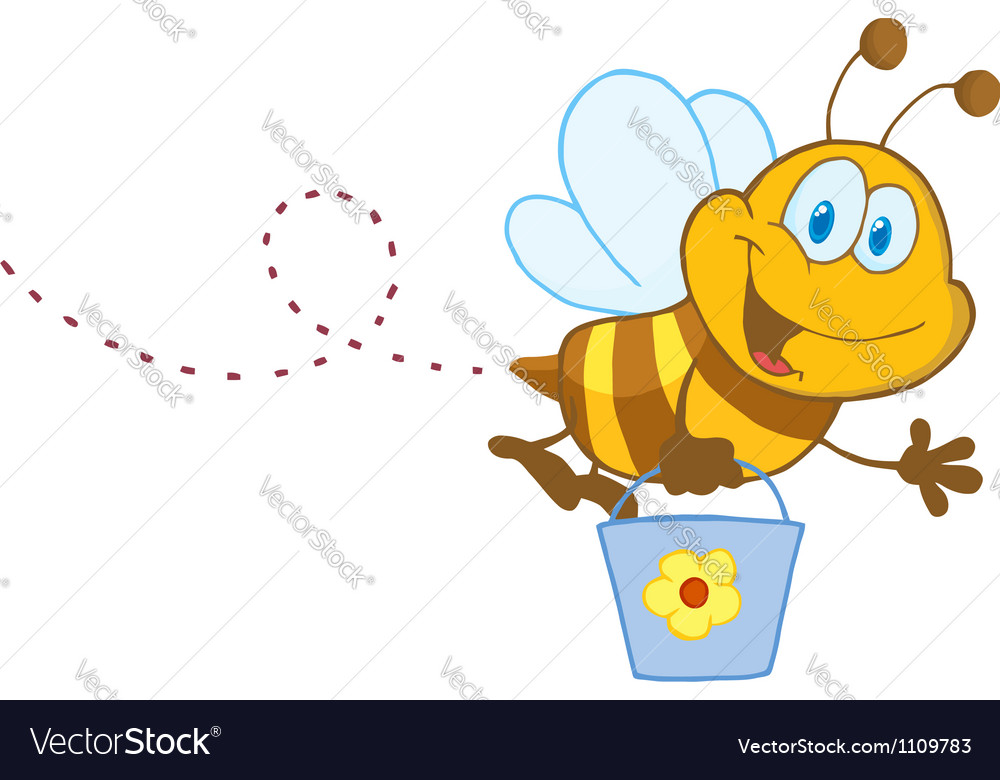 Cartoon character bee flying bucket vector
