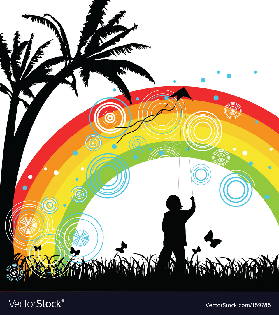 Boy with kite under rainbow vector