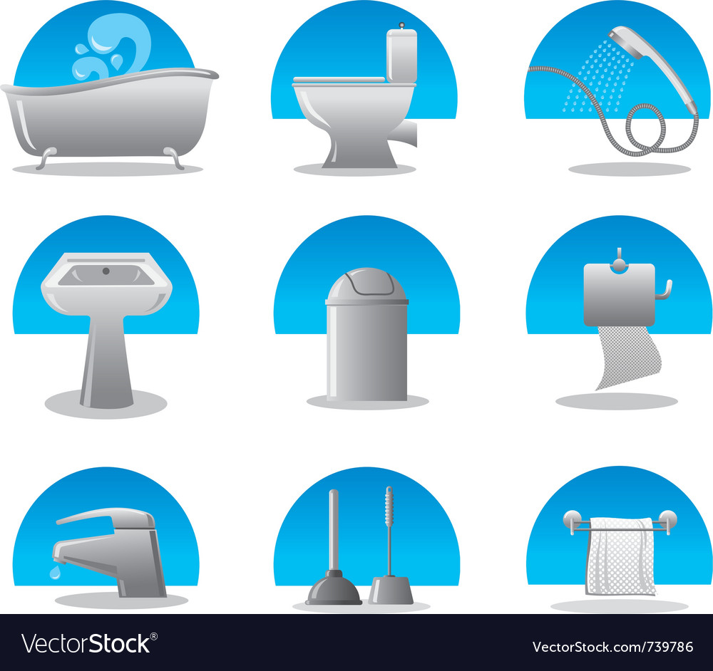 Bathroom and toilet web icon set vector
