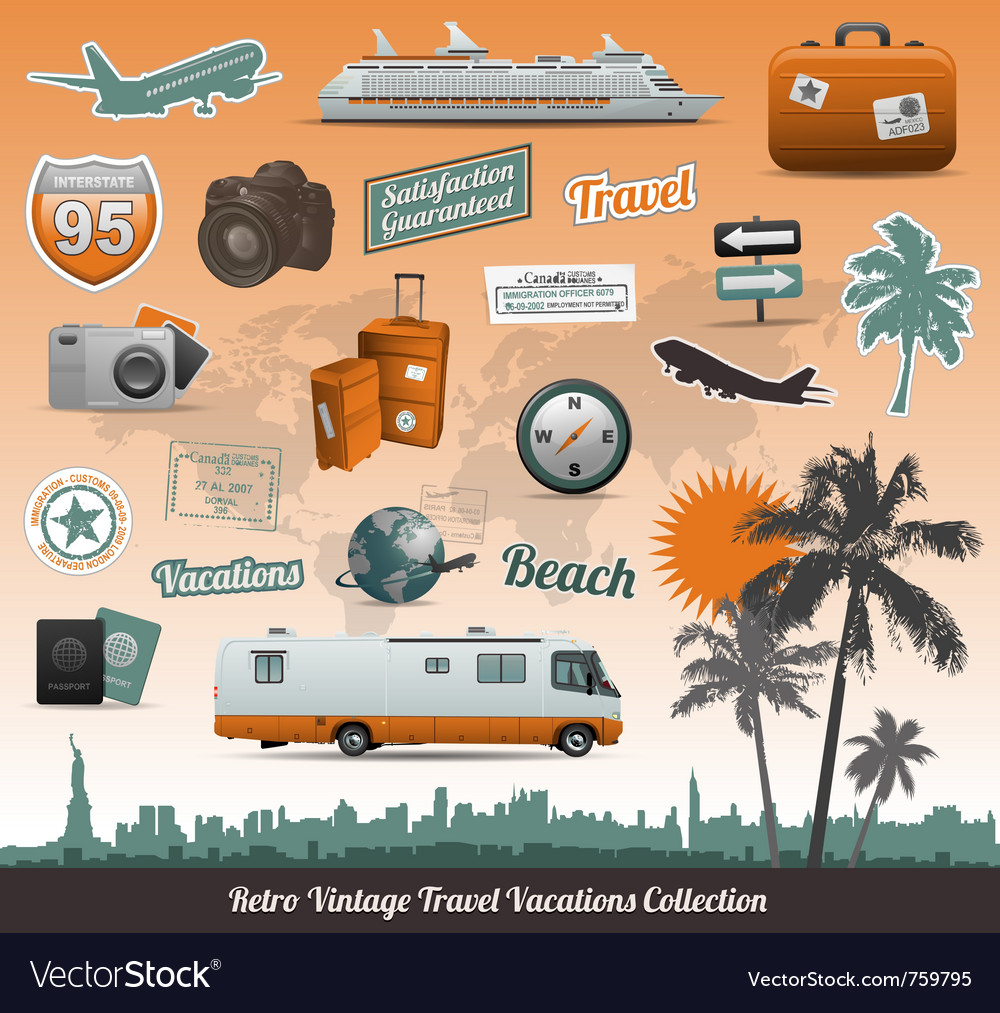 Travel icons symbol collection vector
