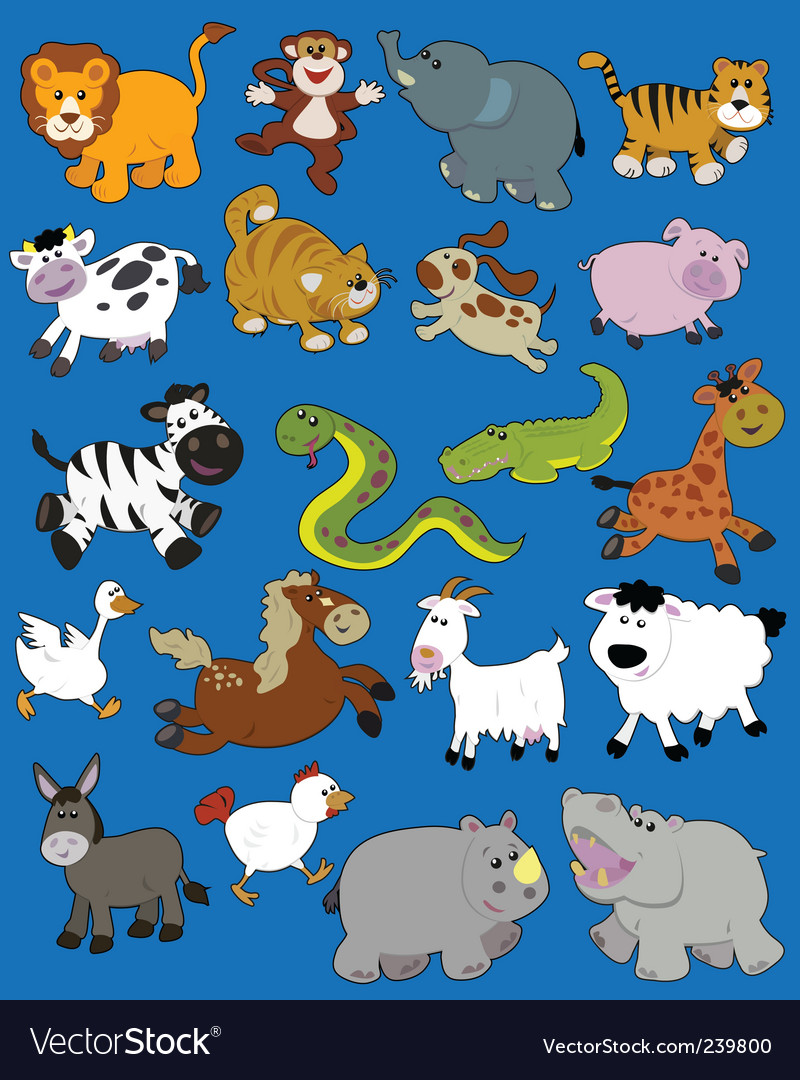 Animals kid drawings vector