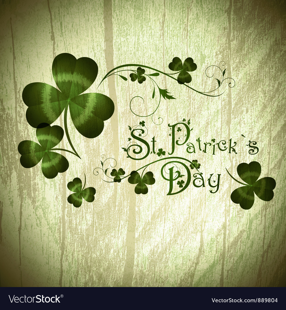 Stpatrick day greeting with shamrocks vector