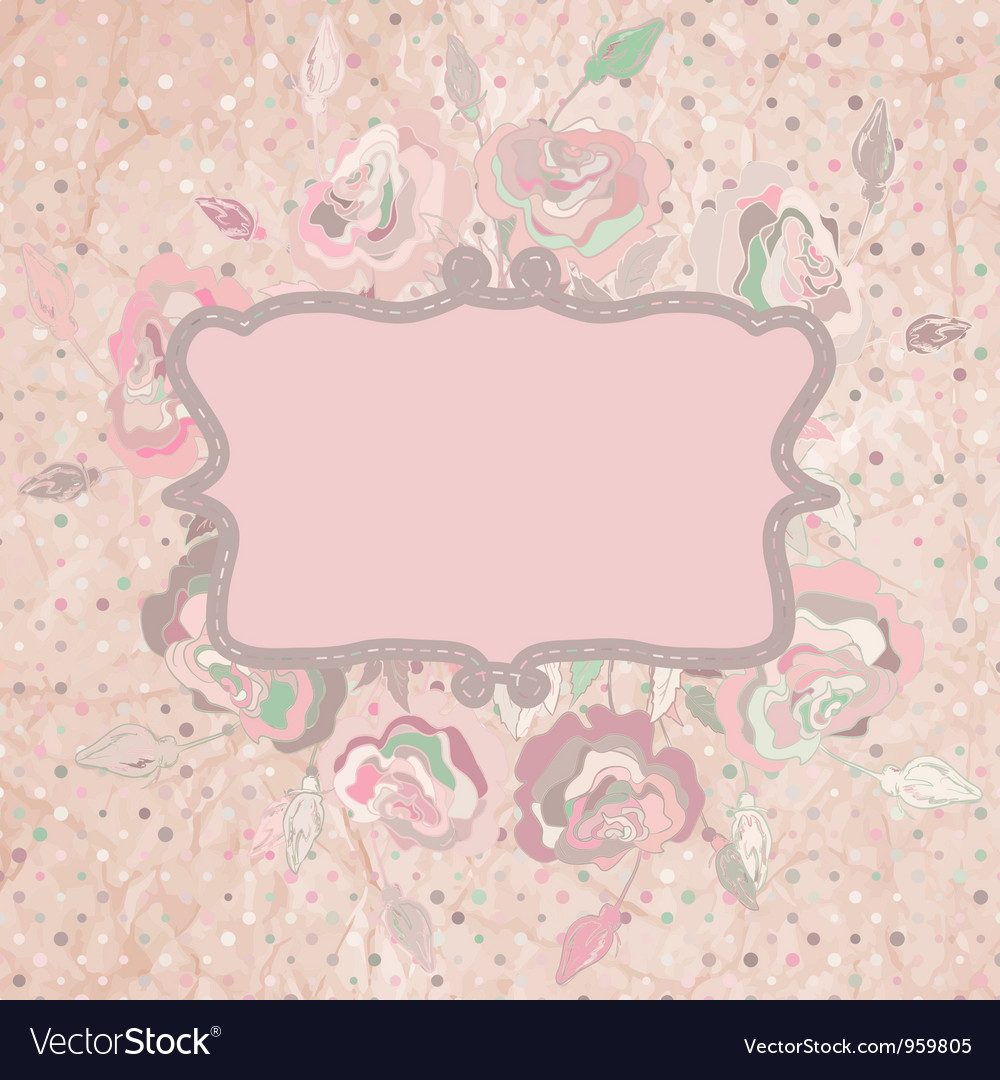 Vintage with pink rose on paper polka dot eps 8 vector
