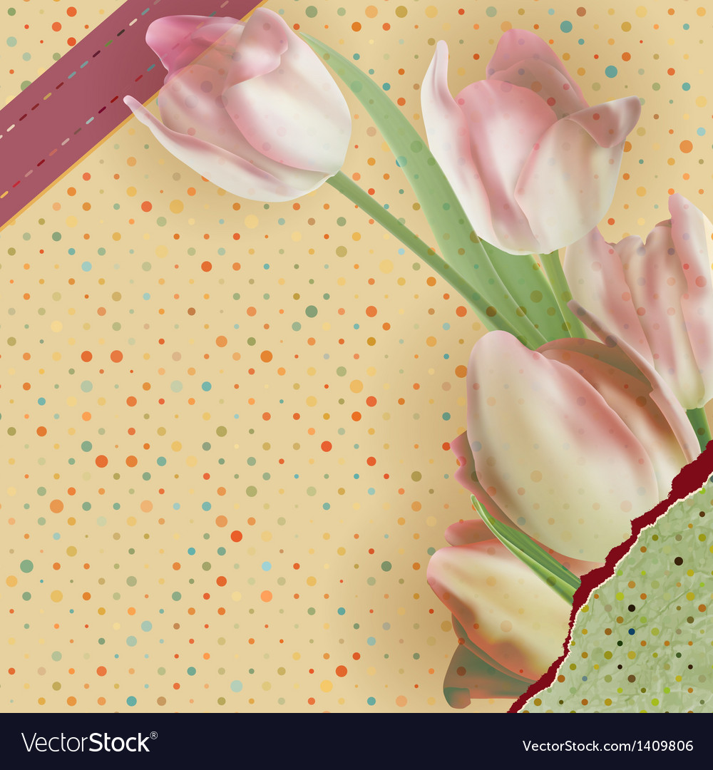 Card with beautiful red tulips polka dot eps 10 vector