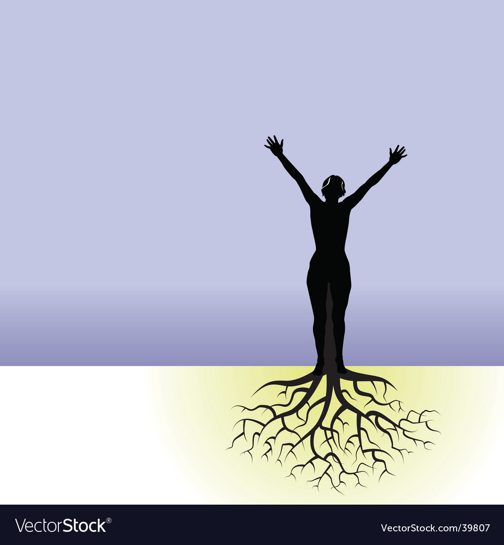 Tree woman roots vector