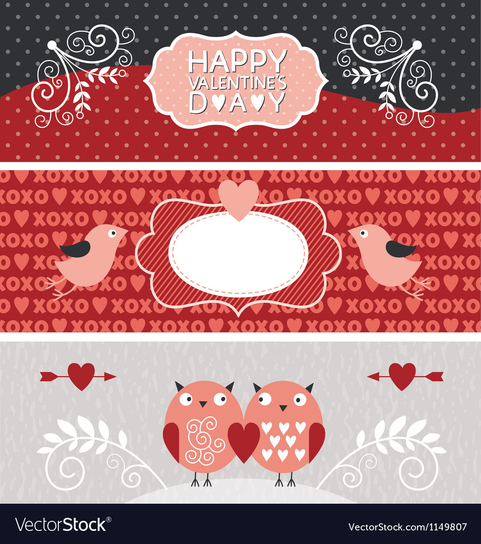 Valentine day horizontal banners vector