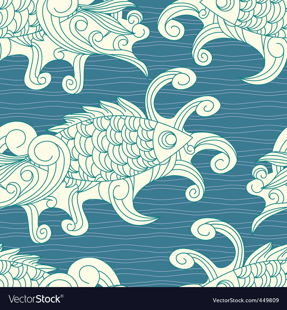 Pattern with koi carp vector