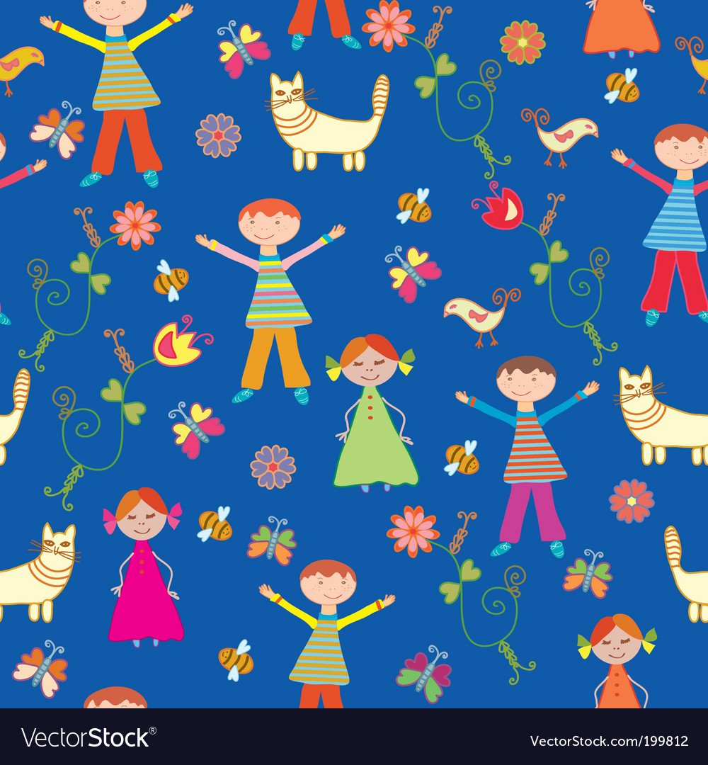 Childrens wallpaper pattern vector