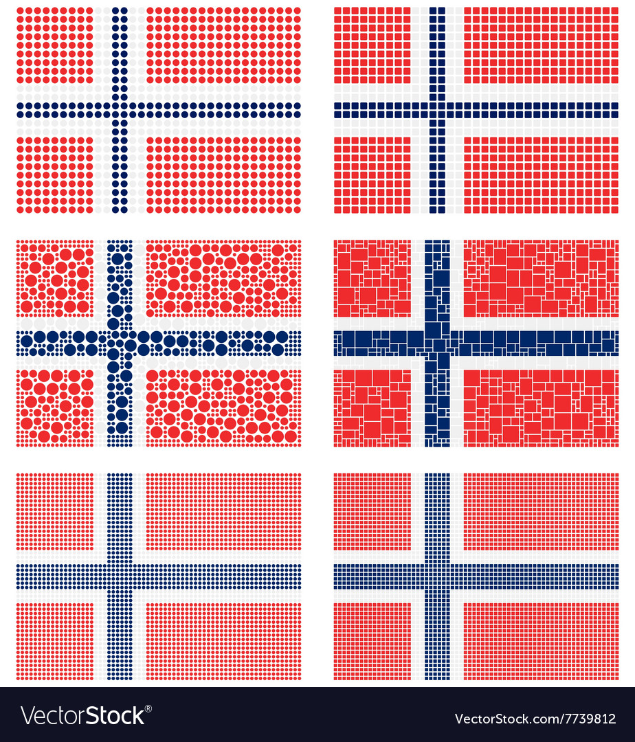 Mosaic norway flag set