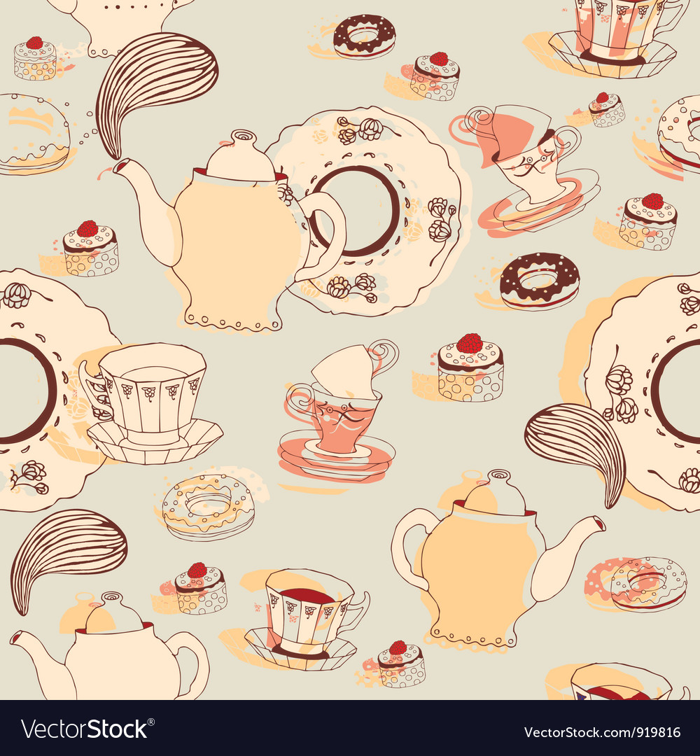 Afternoon tea pattern background vector