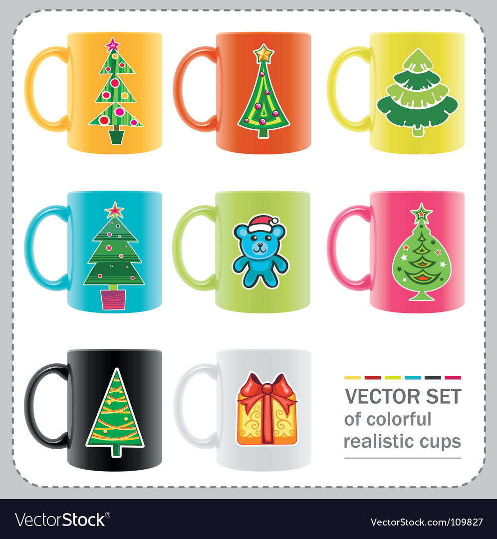 Christmas cups vector