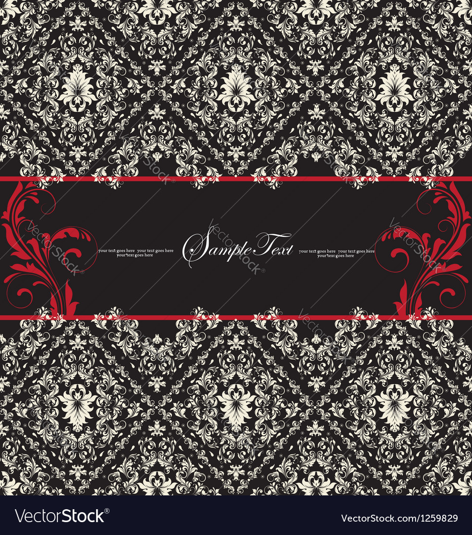 Damask wedding card vector